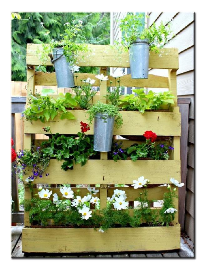 Ящики для цветов из поддонов своими руками 83